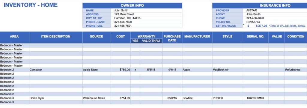 Housekeeping Inventory Template and Inventory Tracking Excel Template