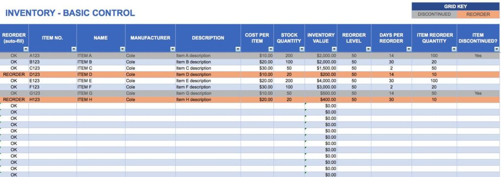 Sample Linen Inventory and Small Business Inventory Spreadsheet Template