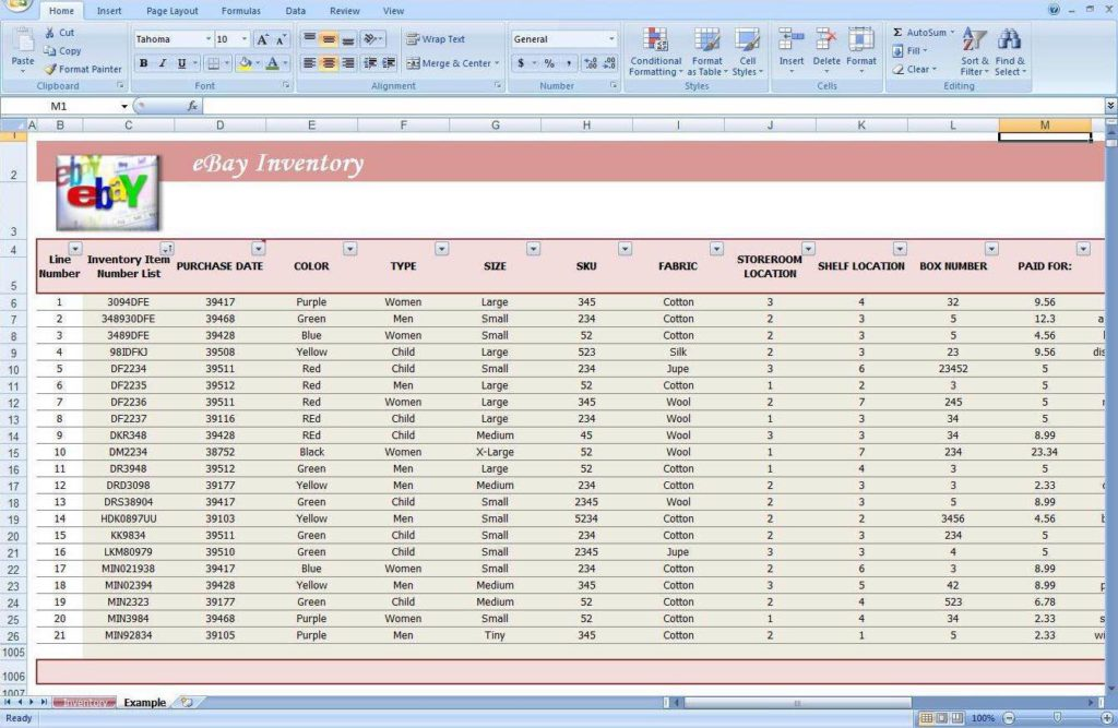 eBay Inventory Tracking Spreadsheet and Simple Inventory Tracking Excel Spreadsheet