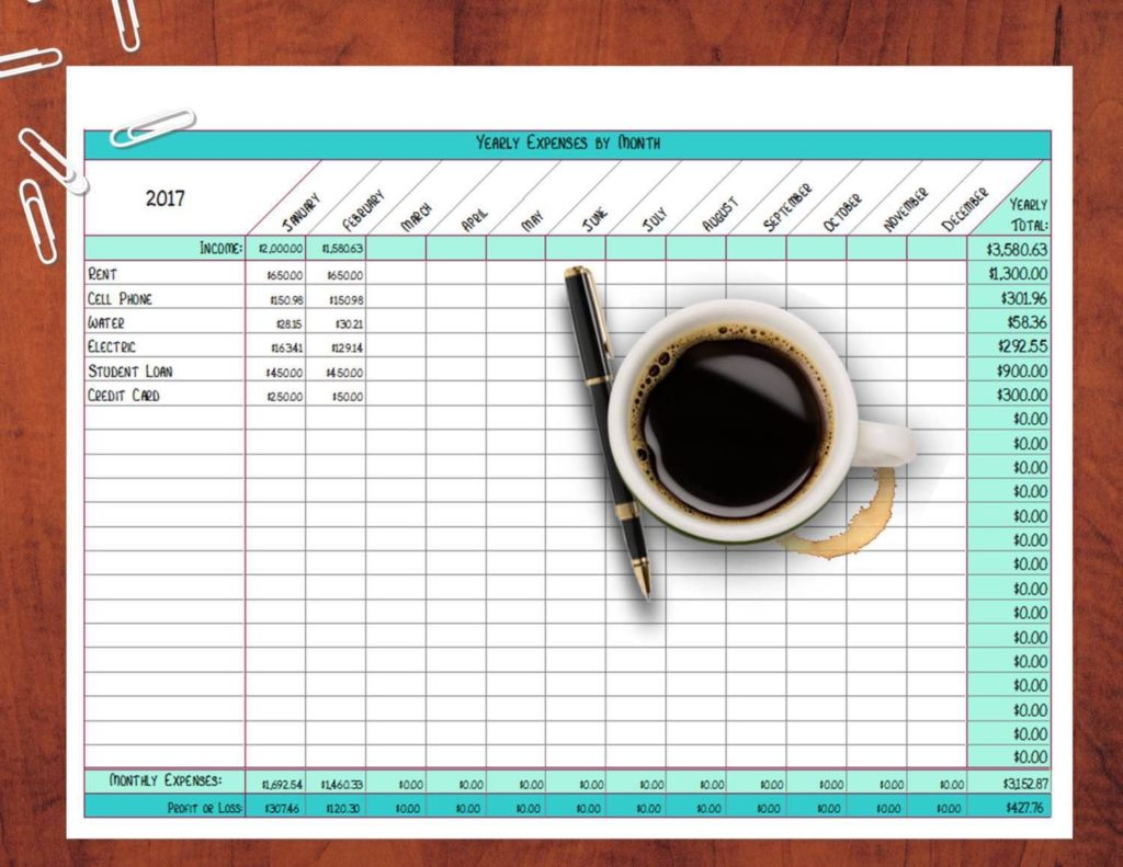 Excel Expense Tracker Spreadsheet And Track Personal Expenses Spreadsheet