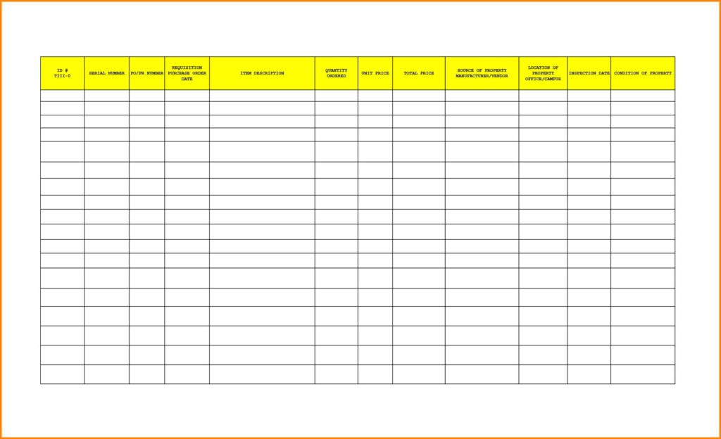 Excel Inventory Template With Formulas And Office Furniture Inventory Checklist
