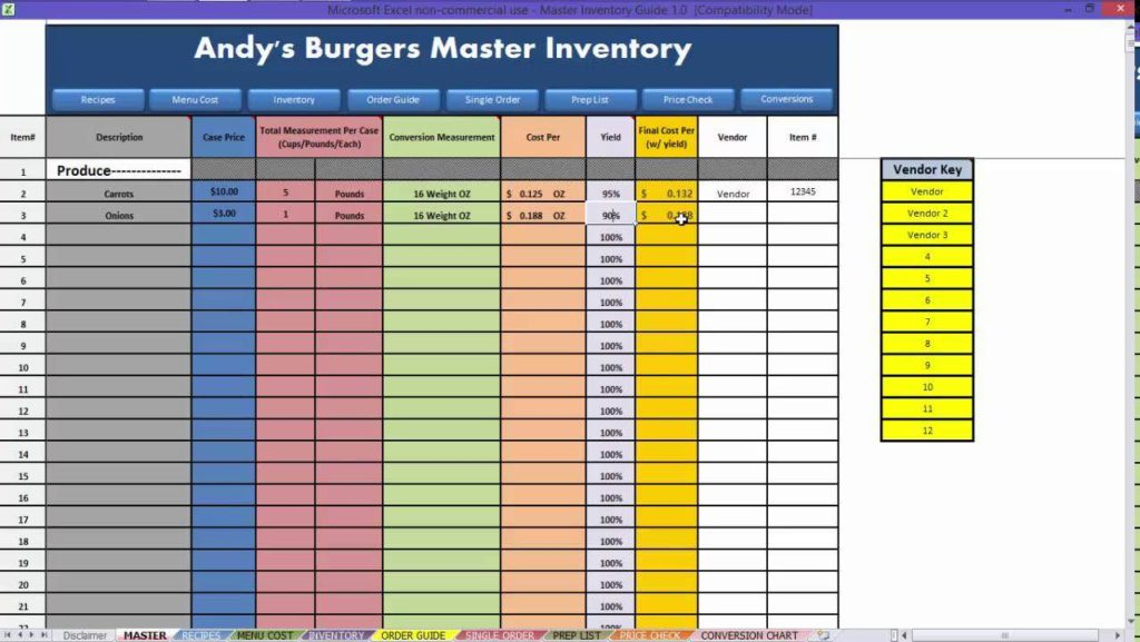 Food Pantry Inventory Spreadsheet And Food Inventory Balance Sheet