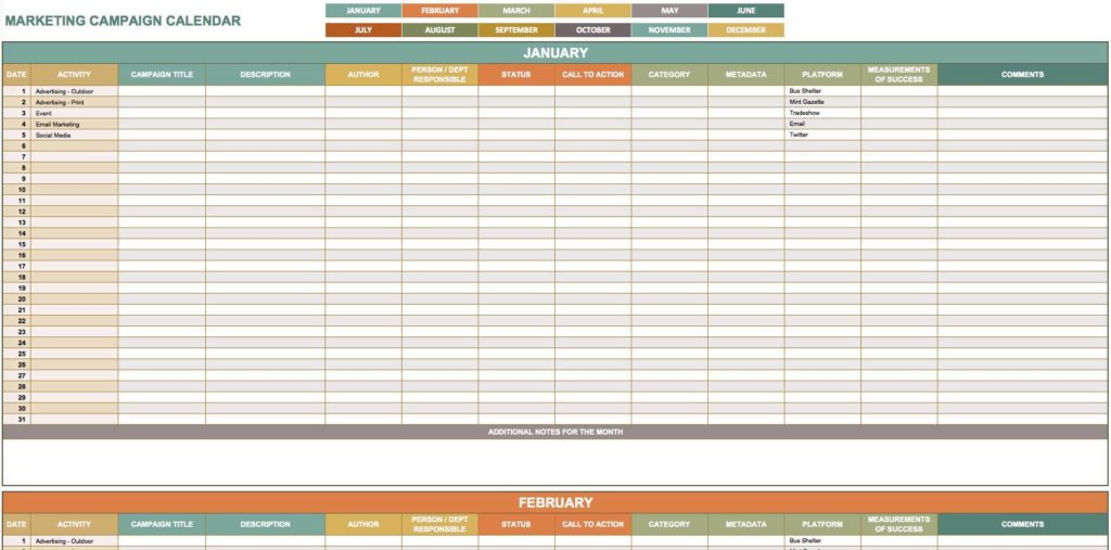 Free Marketing Tracker and Free Marketing Calendar Template 2016