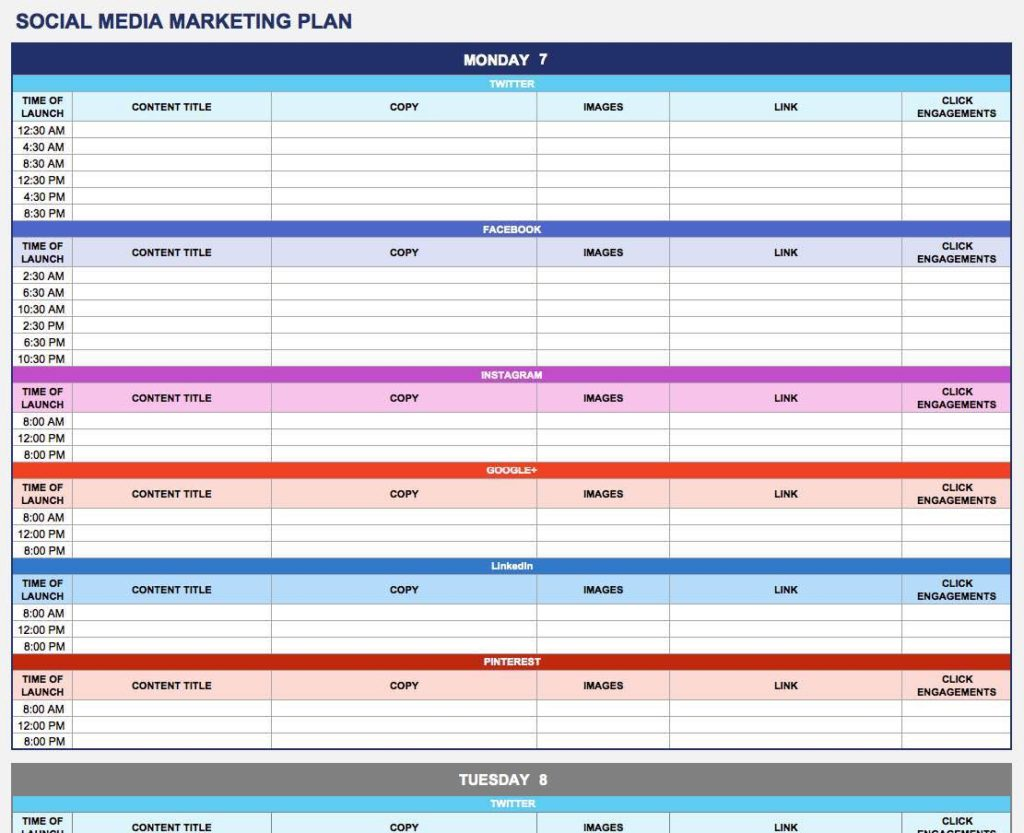 Marketing Tracking Excel Spreadsheet and Digital Marketing Plan Template Excel