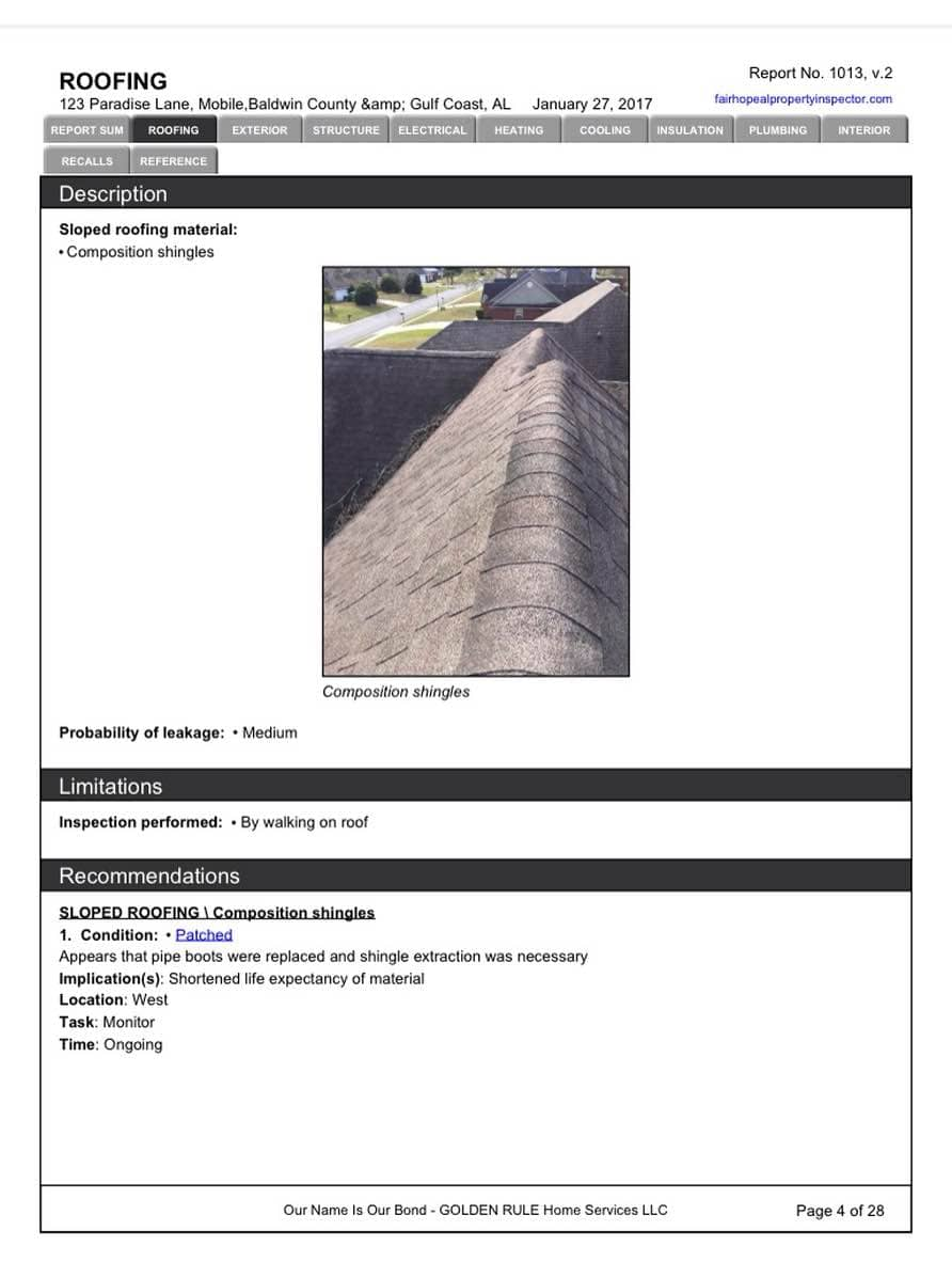 Commercial Roof Inspection Report Sample And Roof Inspection Report Software