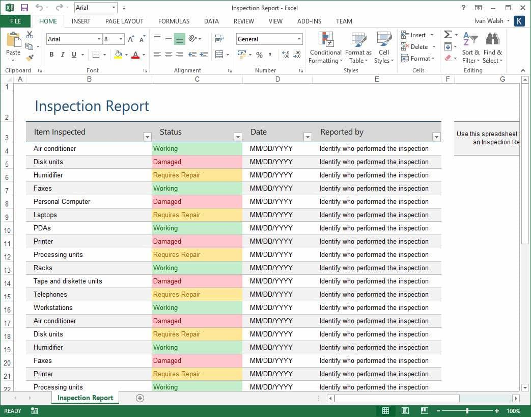 Sample Of Inventory Report In Excel And Inventory Summary Report Template
