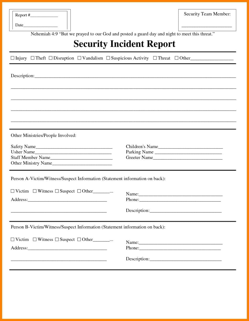 Security Incident Management Report Template And Employee Incident Report Sample