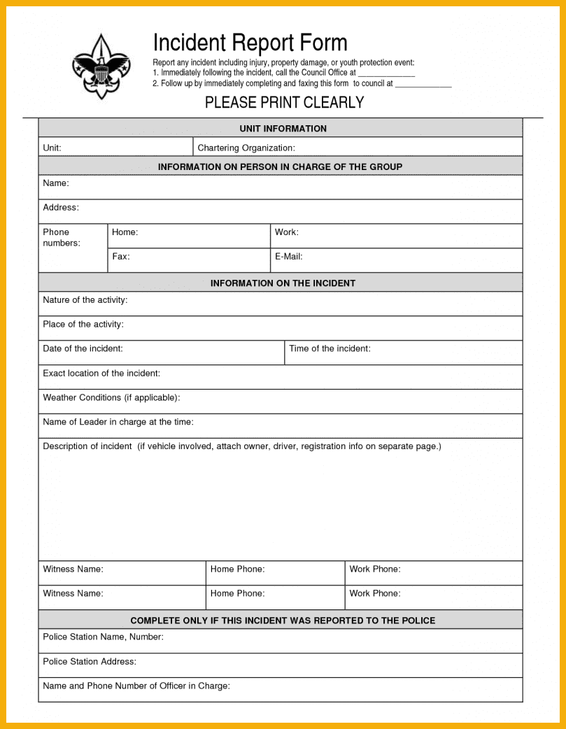 Construction Accident Report Form Template And General Incident Report Form Template