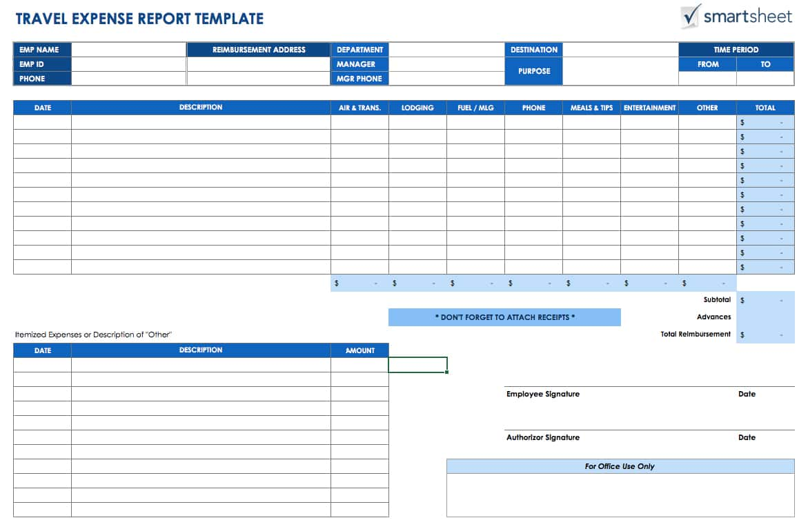 Expense Report Template Excel 2010 And Printable Expense Report