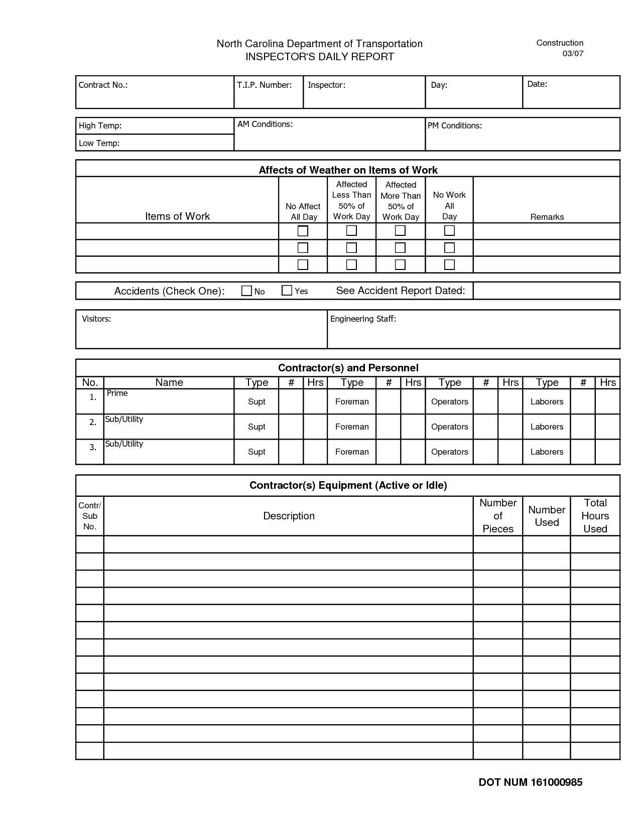 Field Inspection Report Form And Construction Inspection Report Template