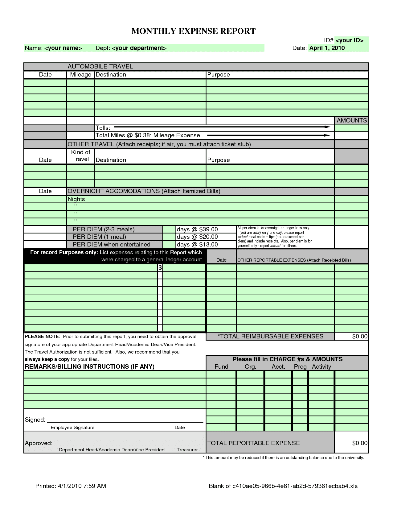 Microsoft Excel 2010 Expense Report Template And Expense Report Reimbursement Template