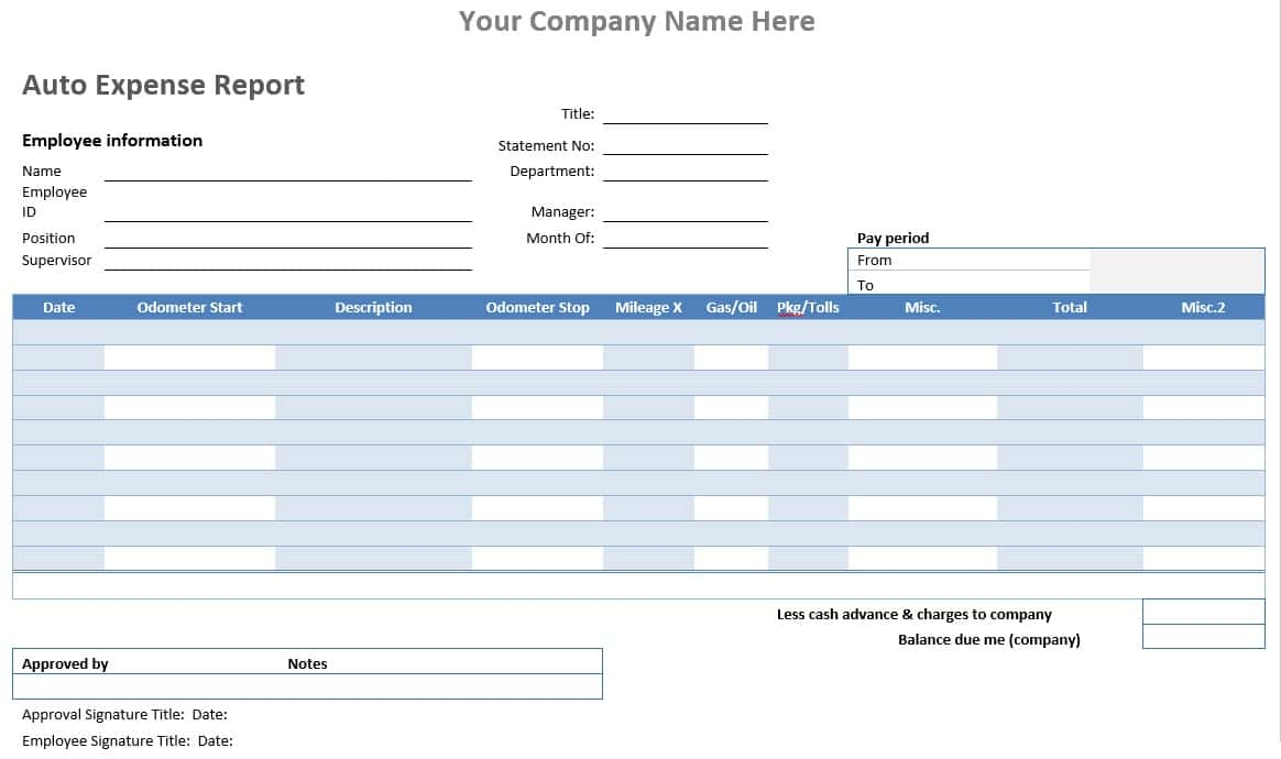 Expense Report Template For Numbers And Expense Report Template For Truck Drivers