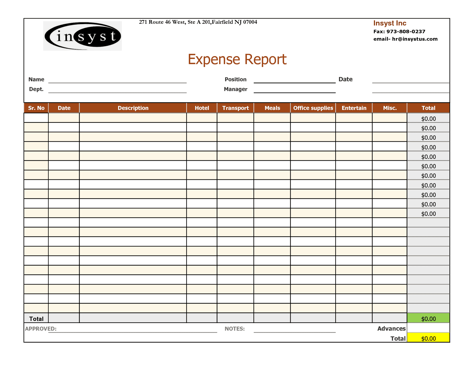 Expense Report Template Free And Expense Report Template For Home