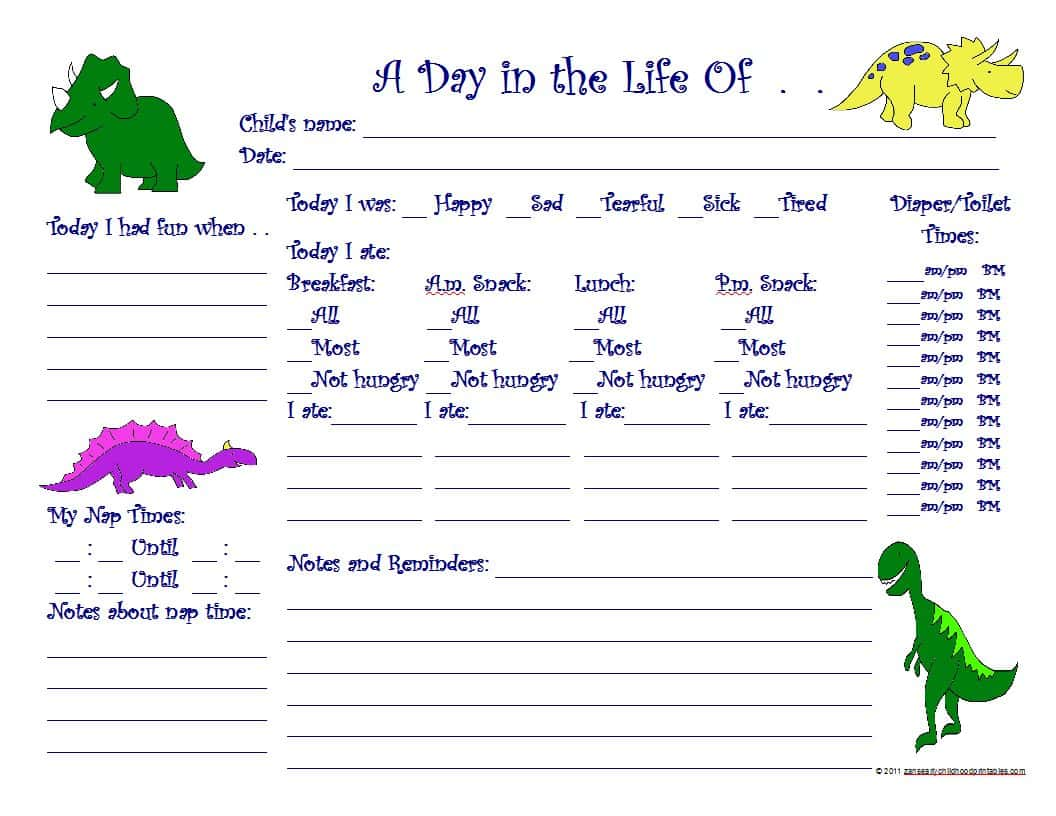 Infant Daily Report Pdf And Free Printable Daily Report Sheets