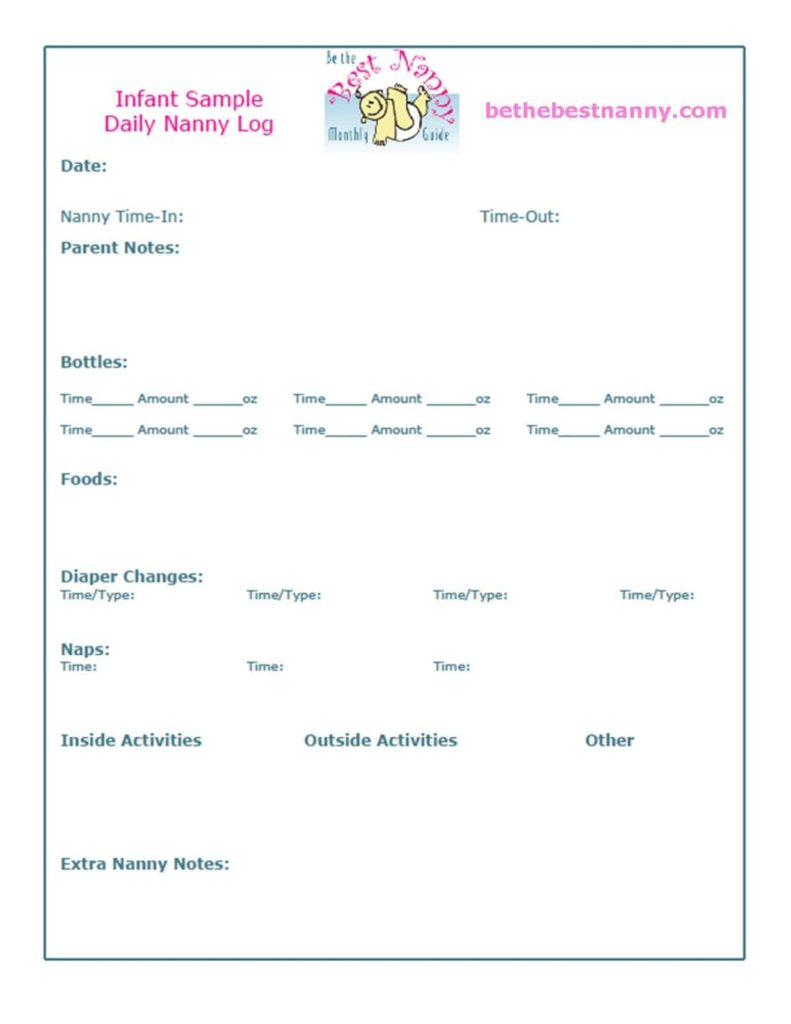Preschool Daily Notes To Parents And Printable Daycare Forms