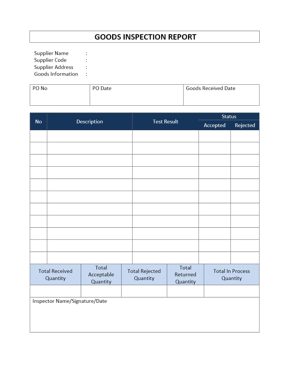 Vehicle Inspection Report Template Free And Vehicle Inspection Form Word