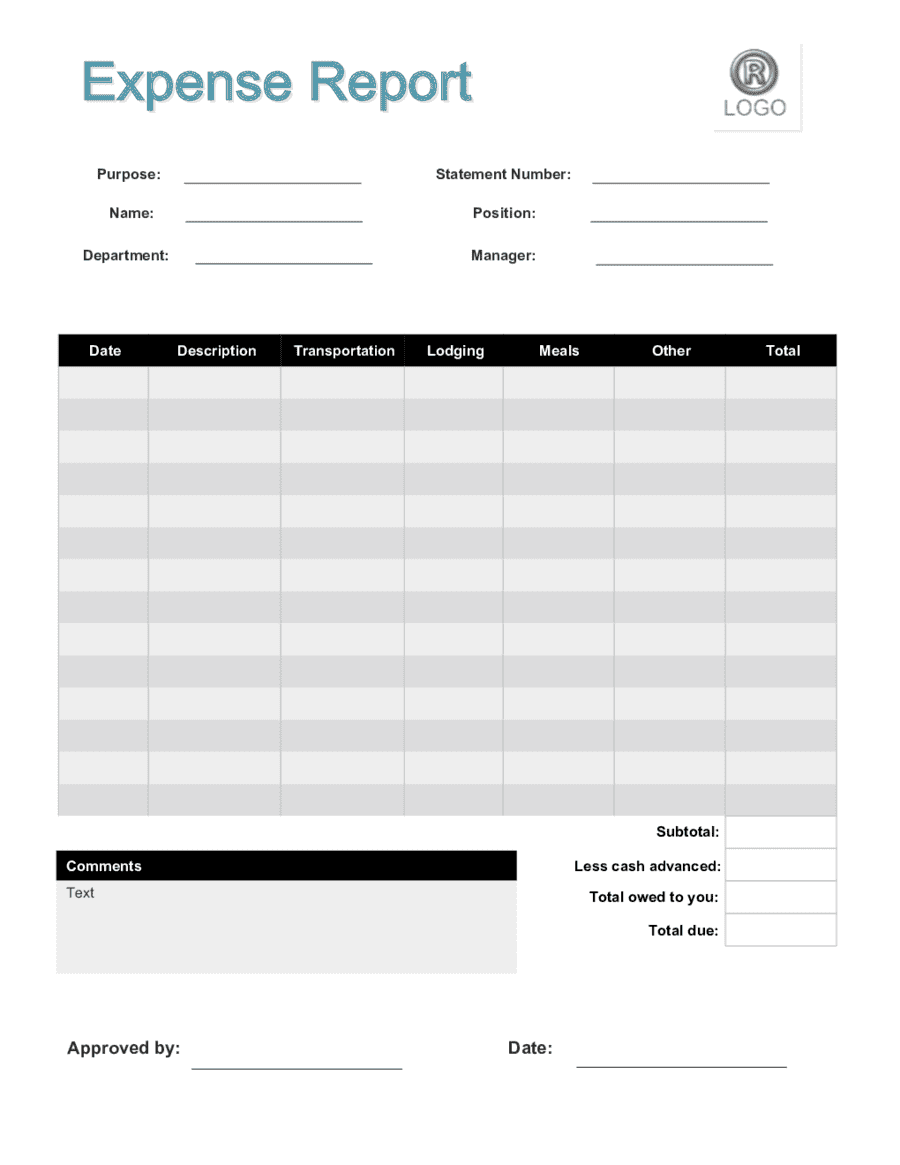 Business Expense Report Template Free And Business Trip Expense Report