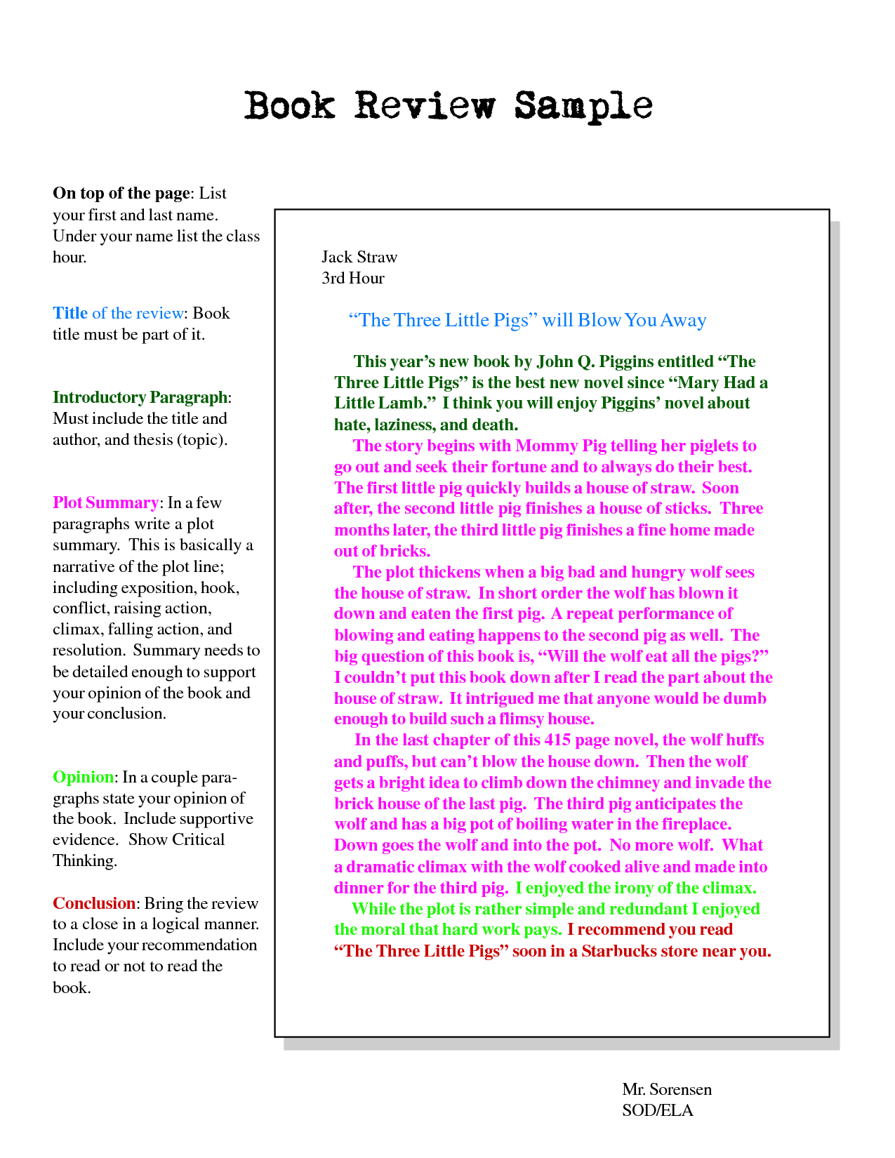 Example Of A Book Report With A Story And Sample Of Book Report W Story