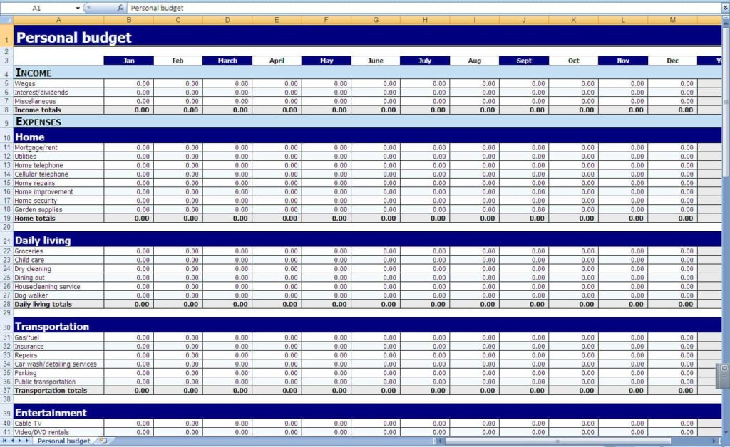 Example Of A Excel Budget Spreadsheet And Example Of Excel Inventory Spreadsheet