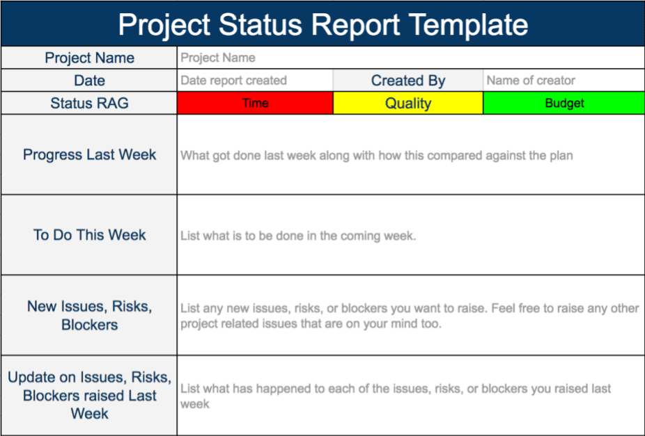Example Of A Status Report In Project Management And Project Status Report Email Examples