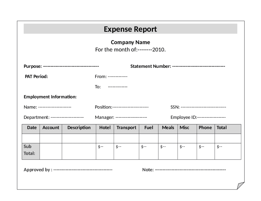 Example Of Church Expense Report And Monthly Expense Report Template Excel