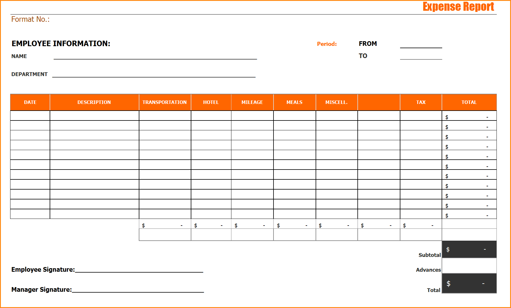 Example Of Excel Expense Report And Travel Expense Report Template