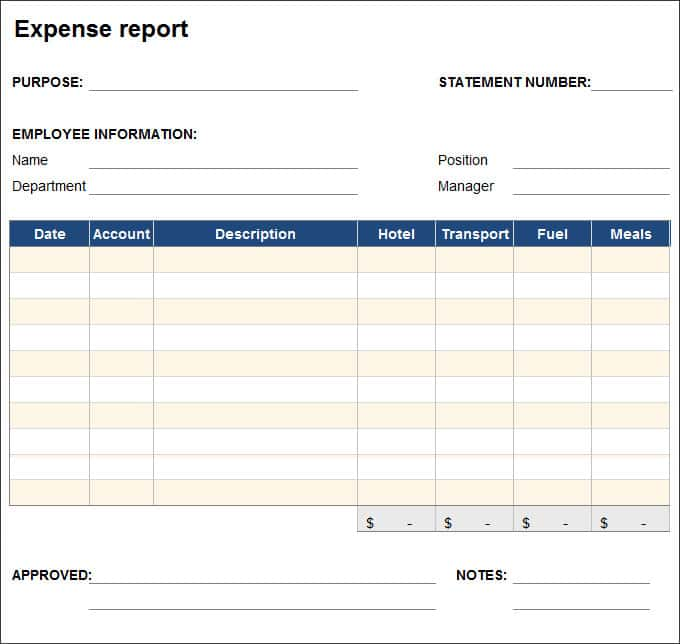 Expense Report Pdf And Expense Report Template Word
