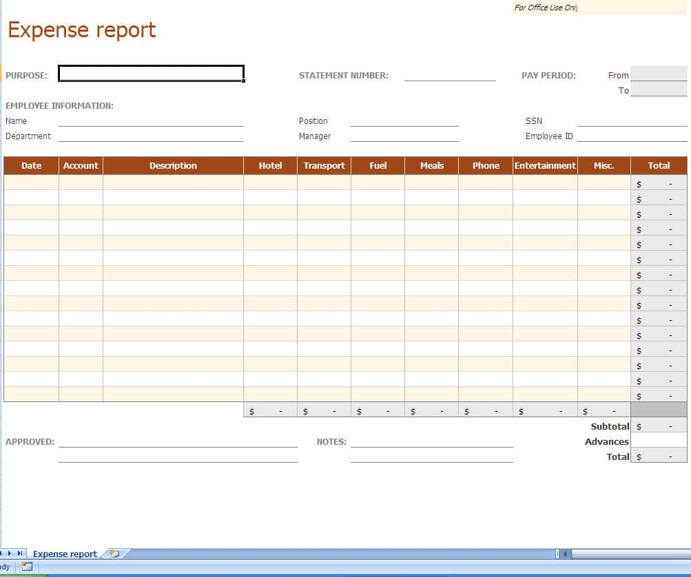 Expense Report Sample Excel And Company Expense Report Sample