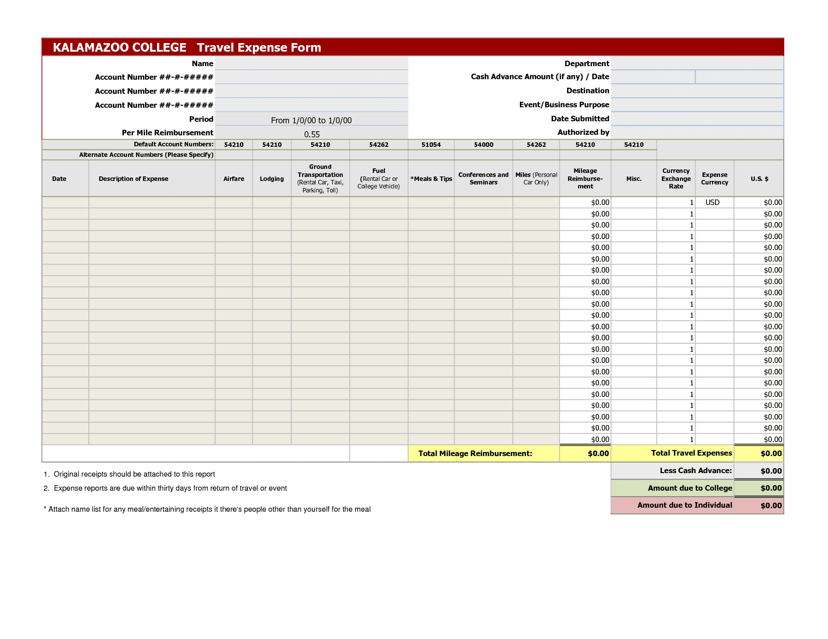 Free Itemized Expense Report Template And Itemized Monthly Expenses List Template