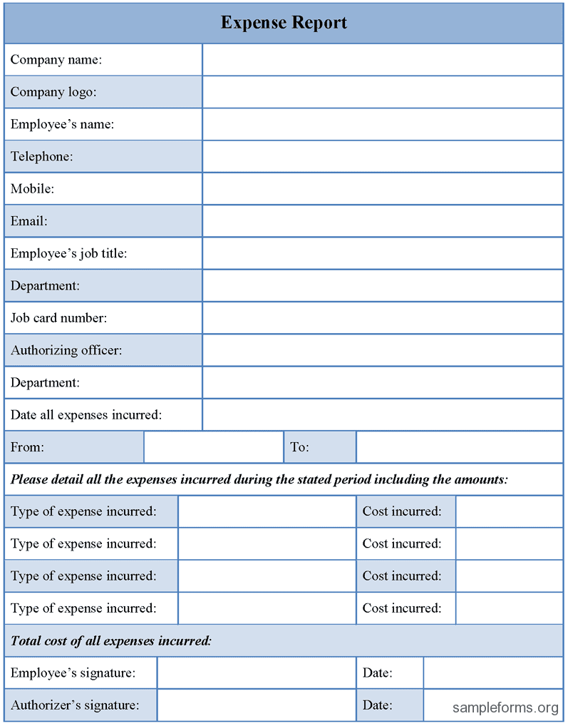 Sample Expense Form And Sample Employee Expense Report Form