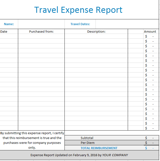 Travel Expenses Template Free Download And Employee Expense Report Template