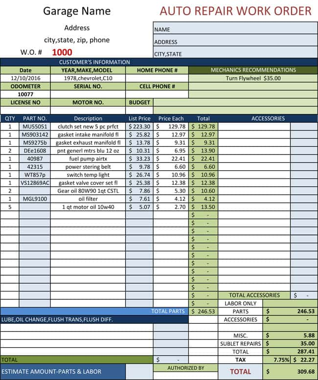 Auto Repair Invoice Template Excel 2003 And Auto Body Repair Invoice Templates