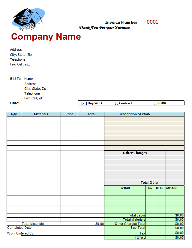 Auto Repair Invoice Template Microsoft Office And Openoffice Auto Repair Invoice Template