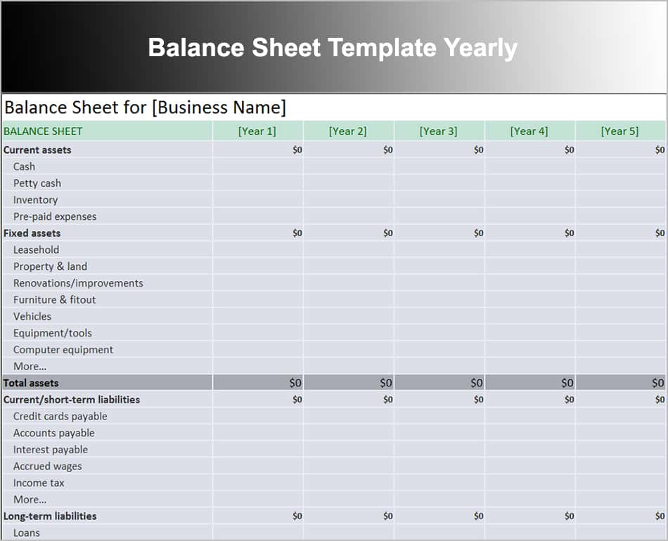 Balance Sheet Template For Excel And Balance Sheets Template