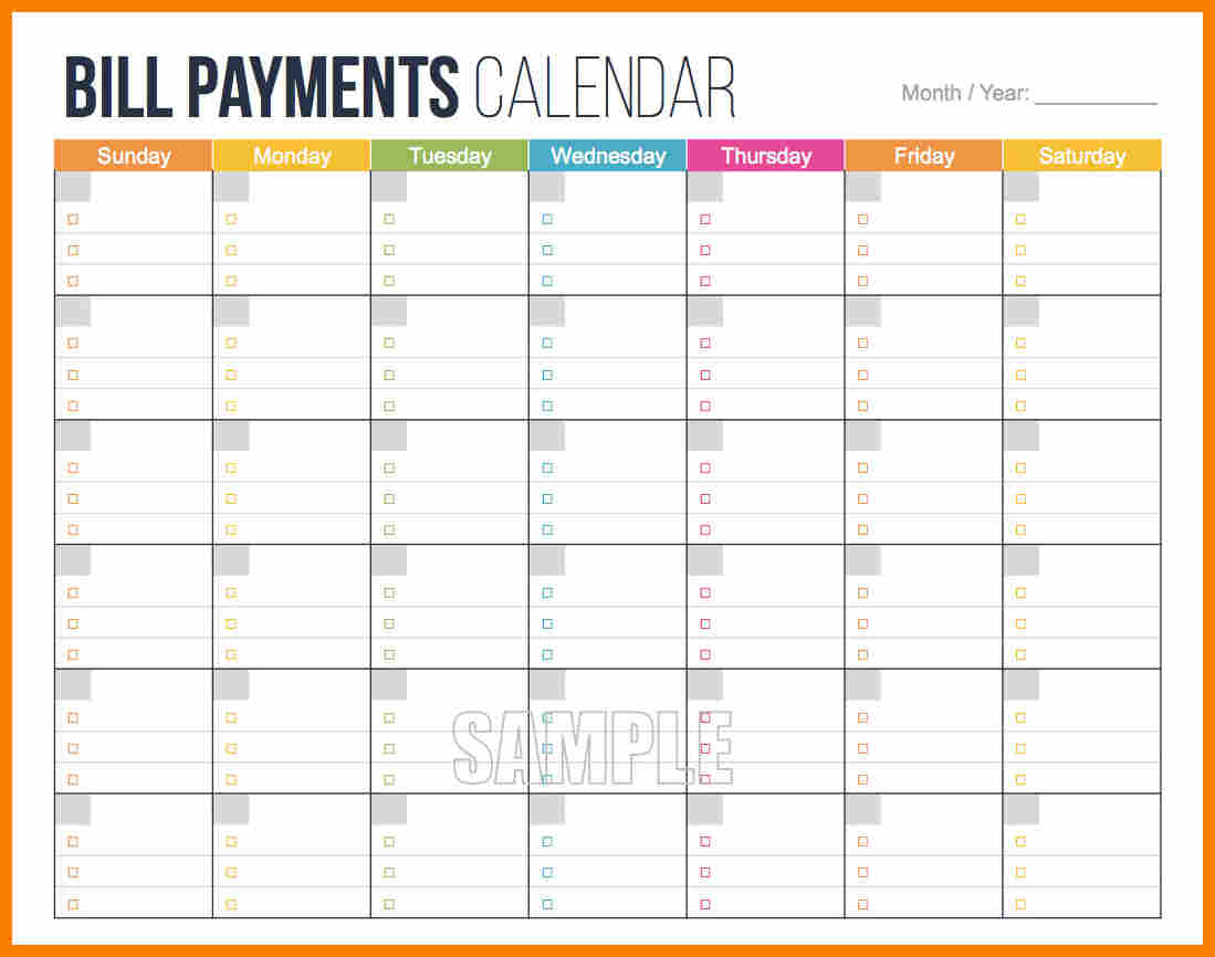 Bill Pay Schedule Template And Payment Schedule Template Xls