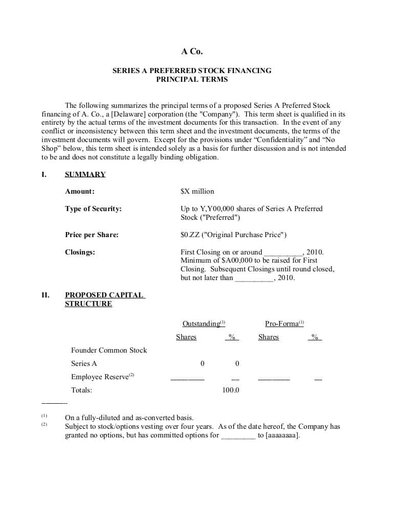 Business Loan Term Sheet Sample And Contract Term Sheet Template