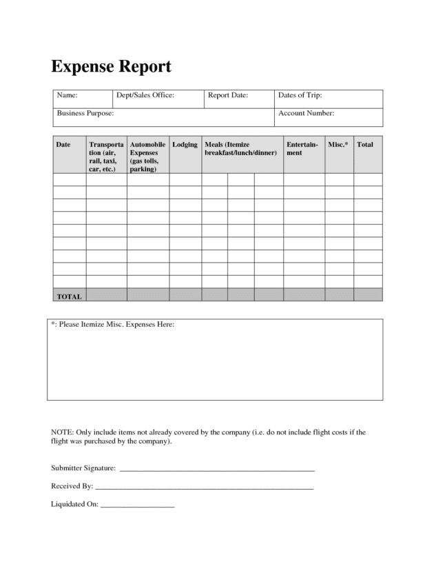 Download Expense Report Template And Printable Expense Report