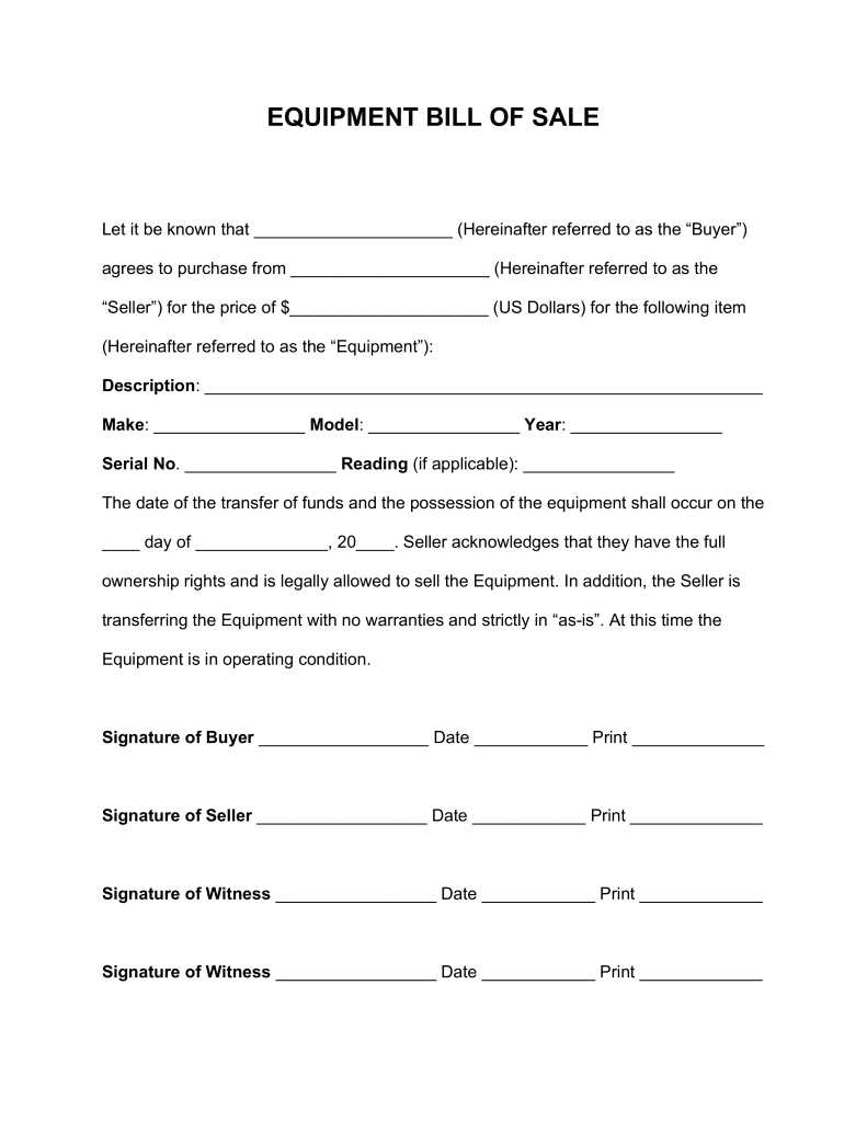 Equipment Bill Of Sale Form Alberta And Heavy Equipment Bill Of Sale Template