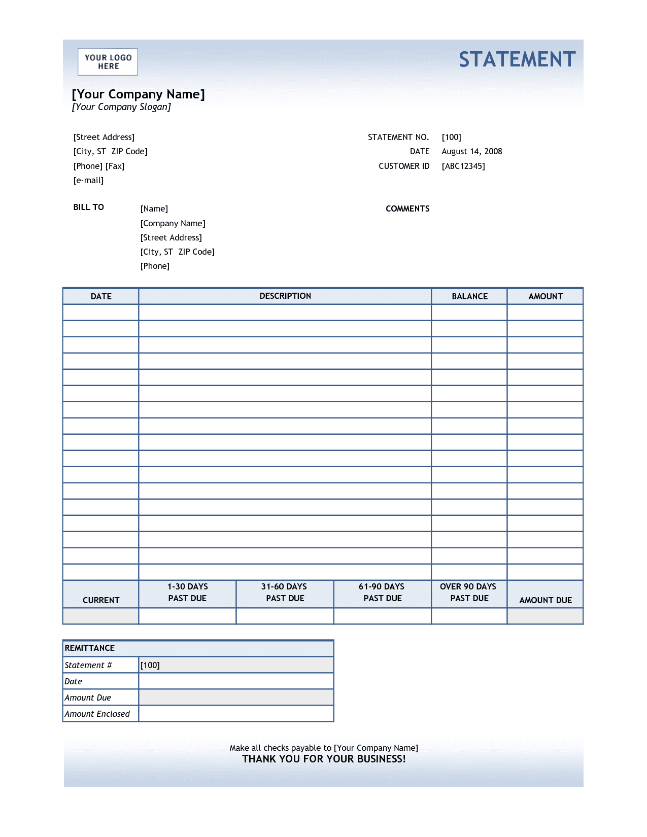 Example Of A Medical Billing Statement And Sample Billing Statement For Services Rendered