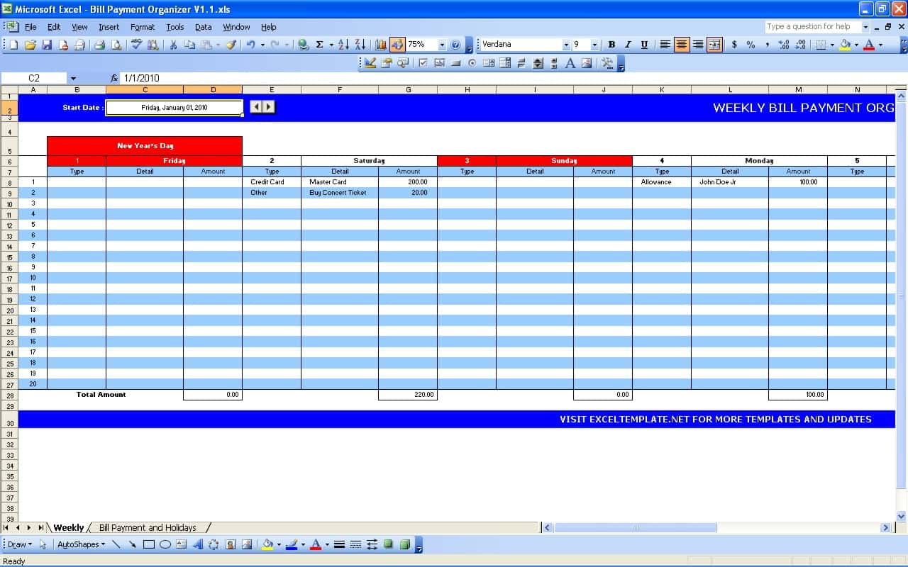 Excel Expense Tracker Template And Bills Excel Template