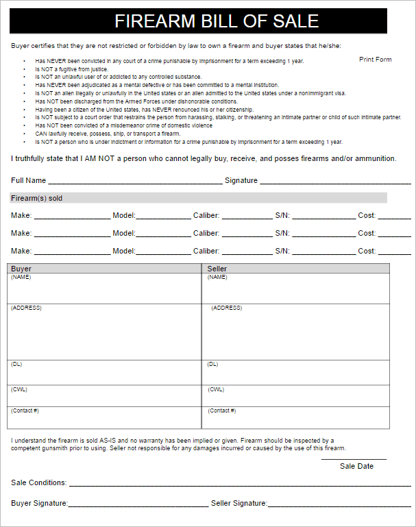 Firearm Bill Of Sale Form Louisiana And Firearm Bill Of Sale Template