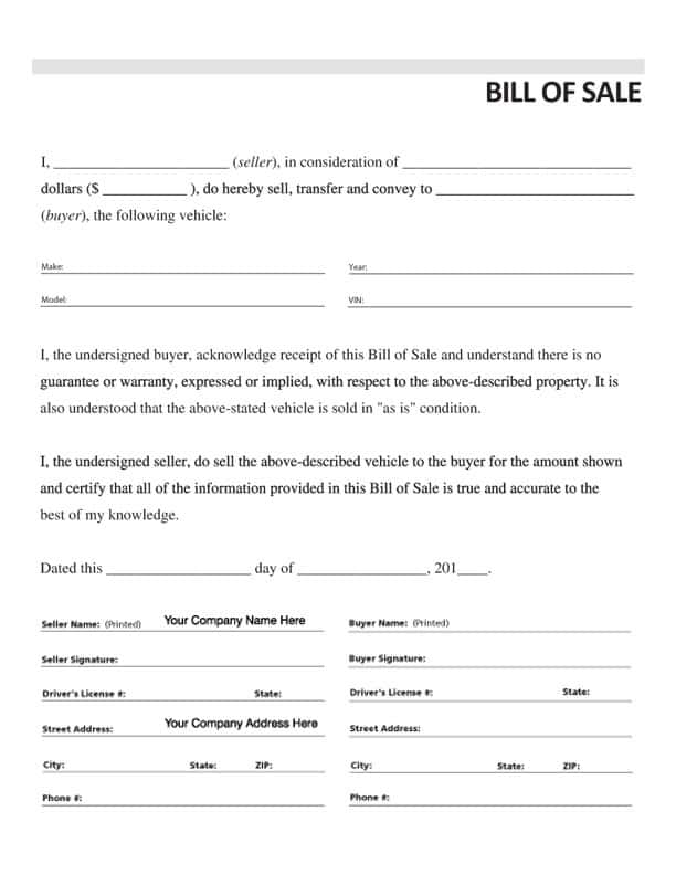 Free Bill Of Sale Template For A Car And Free Massachusetts Bill Of Sale Form For Auto