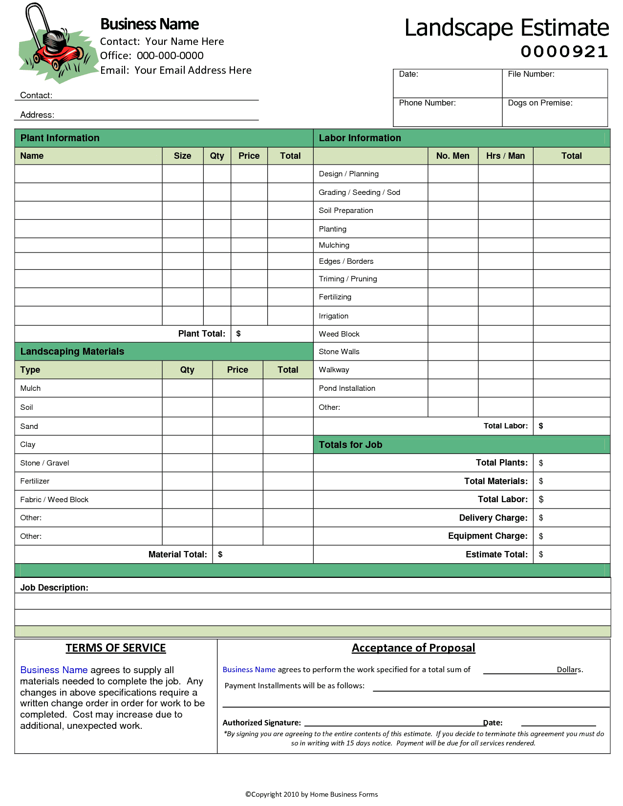 Free Lawn Care Templates Downloads And Landscaping Proposal Template