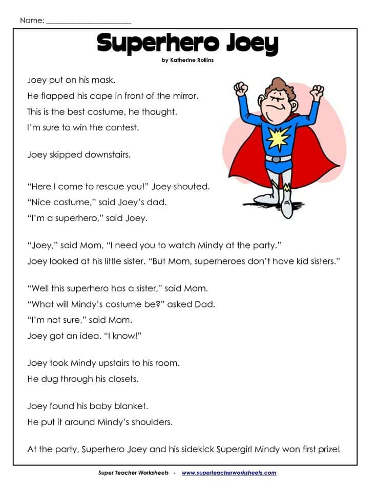 Free Printable English Comprehension Worksheets For Grade 1 And 1st Grade Reading Comprehension Worksheets Multiple Choice