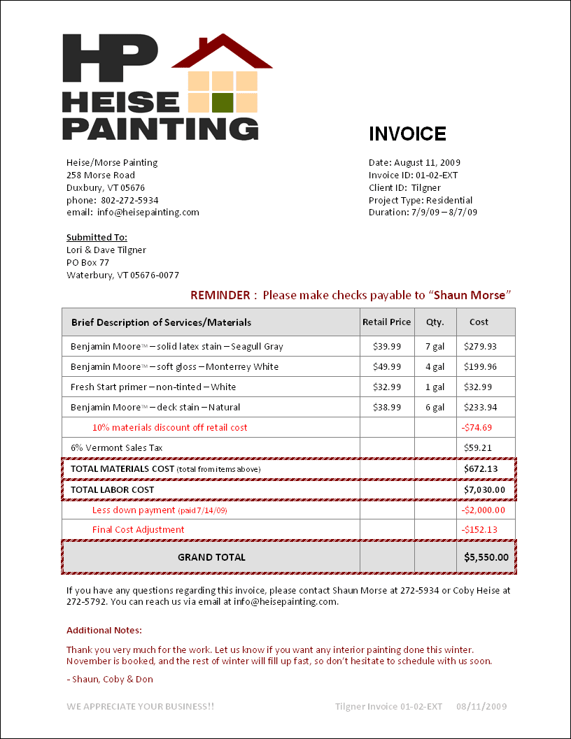 Free Printable Painters Invoice And Sample Painting Invoice Template