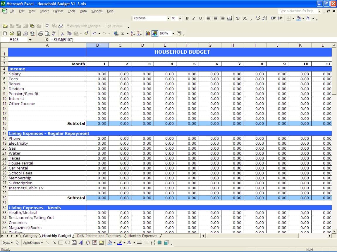 Free Spreadsheet Templates For Bills And Excel Budget Planner