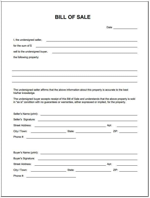 Free Template For Bill Of Sale For Car And Sample Bill Of Sale For Car In Ma
