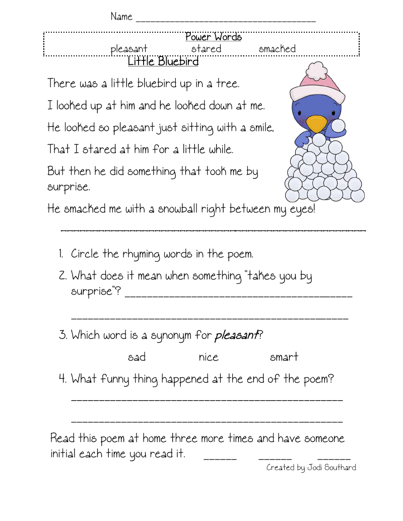 Free Worksheets On Comprehension For Grade 1 And 1st Grade Reading Comprehension Test