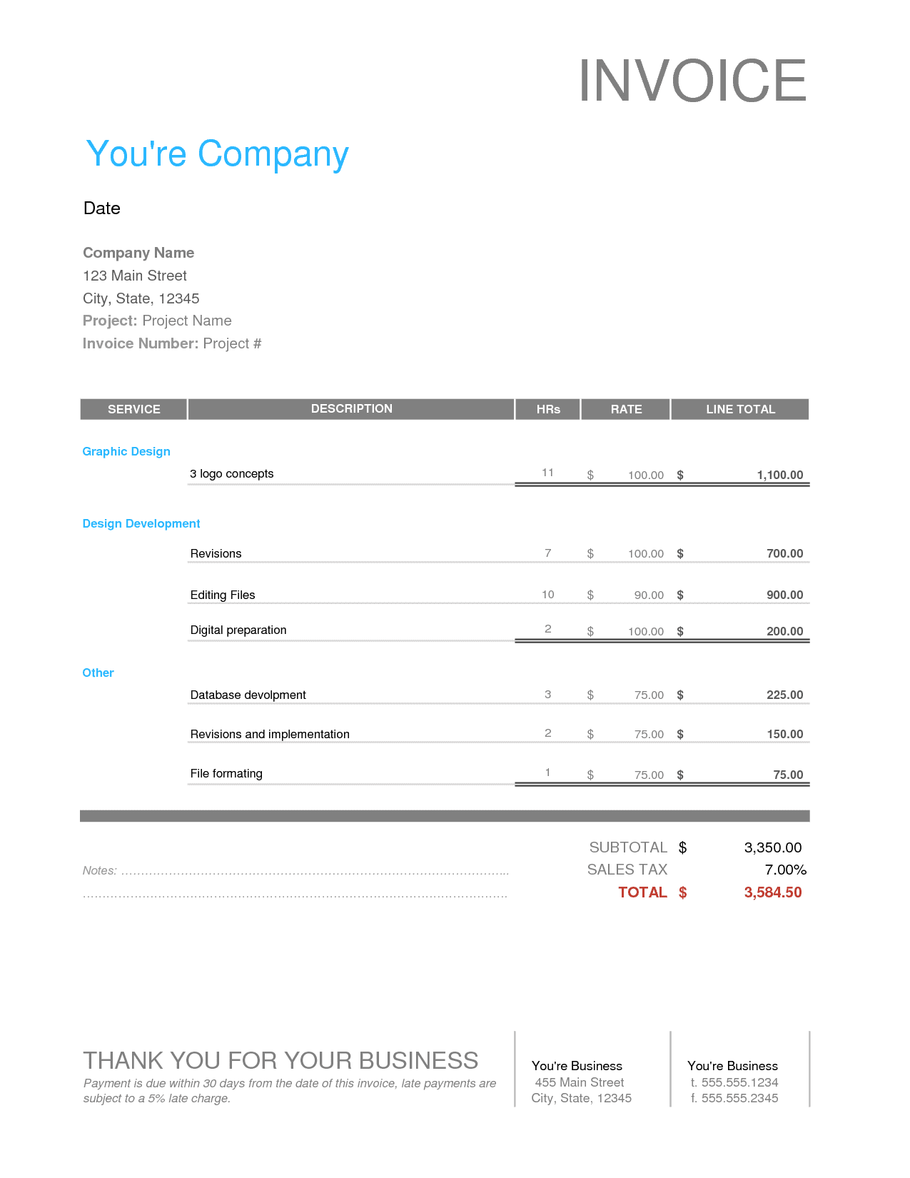 Graphic Design Invoice Template Illustrator And Graphic Design Invoice Template Free Indesign