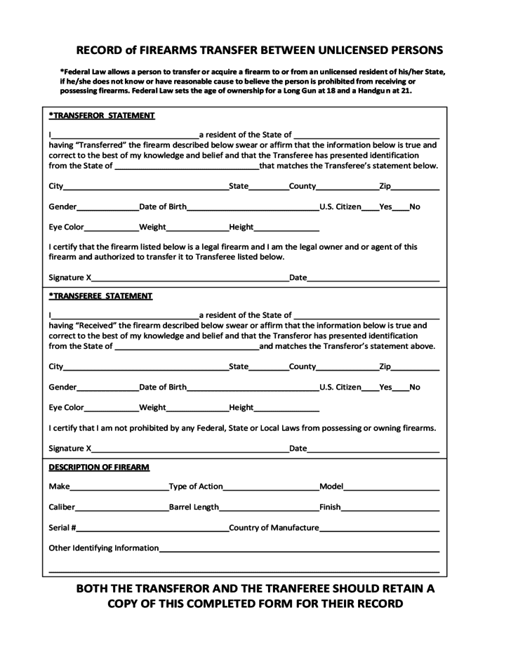 Gun Bill Of Sale Form Oklahoma And Firearm Bill Of Sale Form Nevada